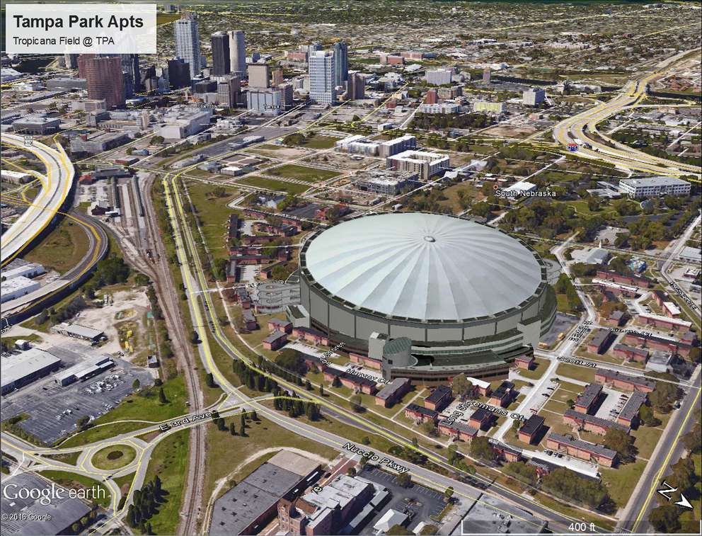 An image depicting what Tropicana Field would look like at the site of the Tampa Park Apartments in Tampa near Ybor City. It is one of eight mockups of potential Tampa Bay Rays ballpark locations created last year by Hillsborough County. (Courtesy of Hillsborough County)