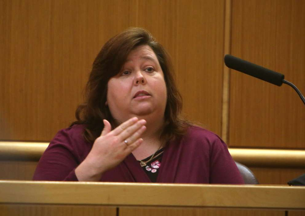 Heather Davis, a supervisor who works at the mental health treatment facility where John Jonchuck was treated before trial, testifies Friday. SCOTT KEELER | Times