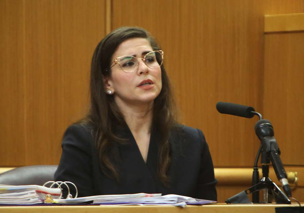 Psychiatrist Emily Lazarou speaks in court Wednesday. SCOTT KEELER | Times