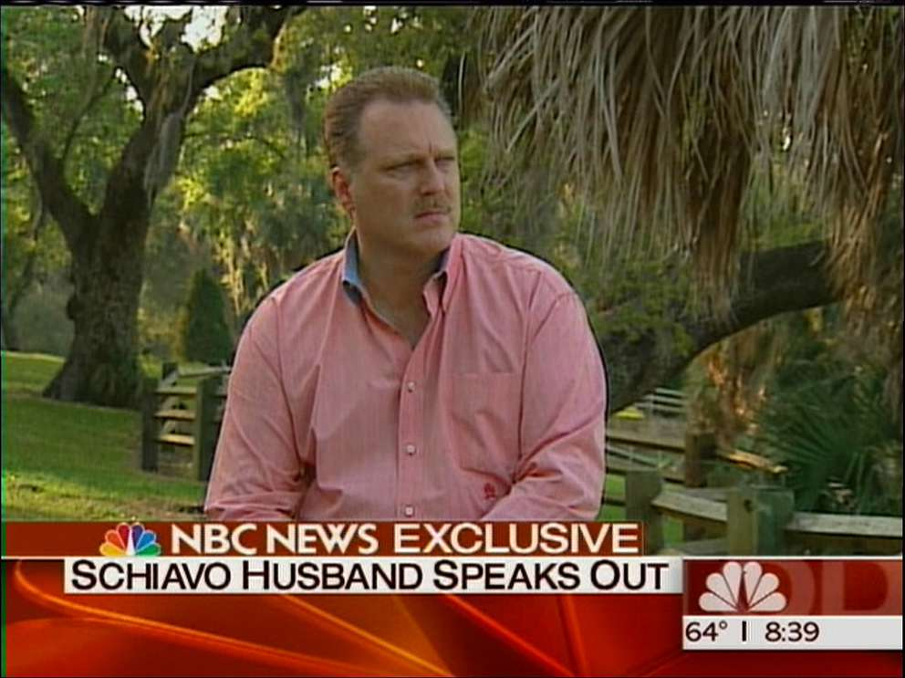 Michael Schiavo is shown during an interview with NBC. Photo courtesy of NEWS CHANNEL 8.