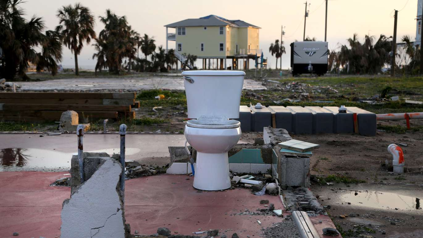 A lone toilet, the only item which remained standing on the foundation of a home which was destroyed by Hurricane Michael in Mexico Beach. (DOUGLAS R. CLIFFORD | Times)