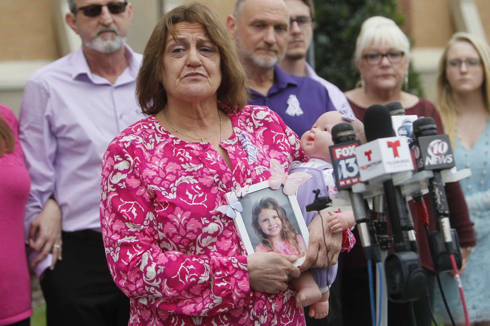 Michele Jonchuck, after her granddaughter's funeral, speaks during a press conference at Lake Magdalene Methodist Church in Tampa. [Times (2015)]