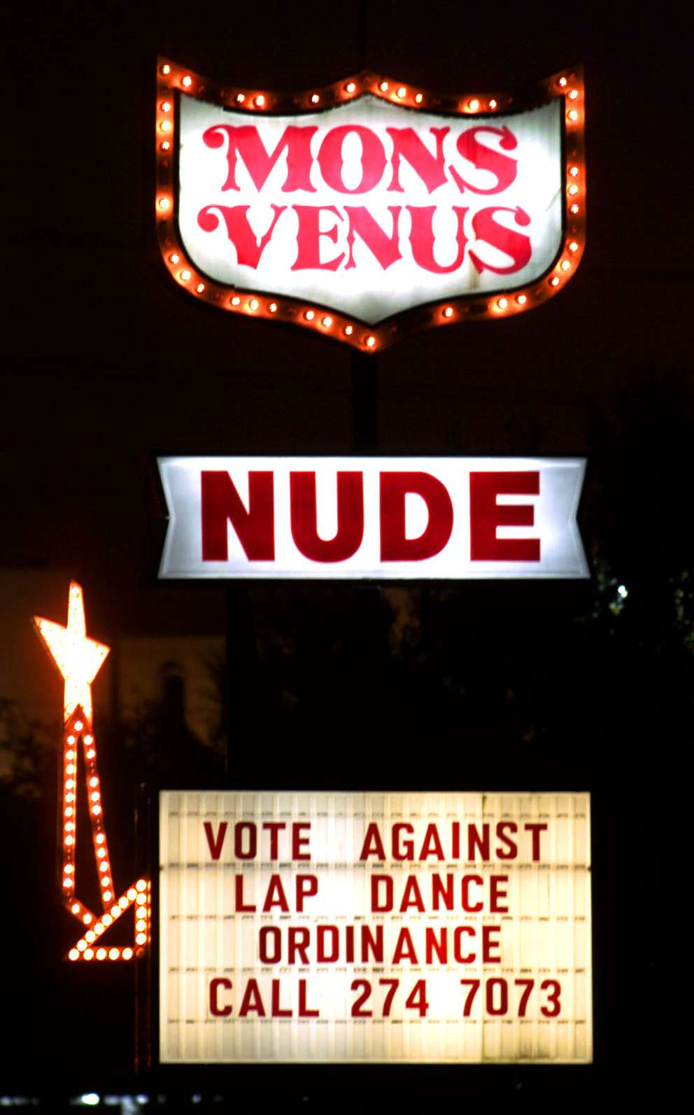 A sign displayed at the Mons Venus. Times (1999)