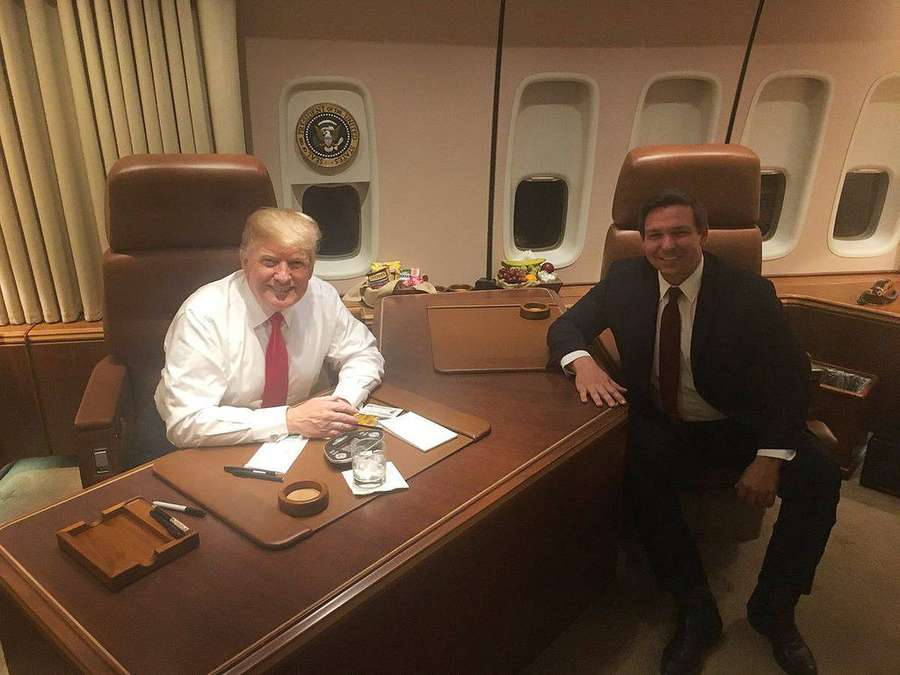 Rep. Ron DeSantis with President Donald Trump on Air Force One. (Courtesy of the Ron DeSantis campaign)