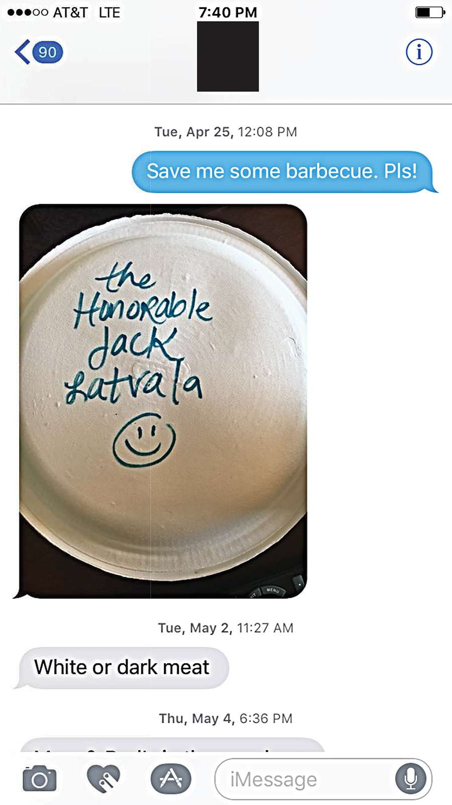 Text between Fla. Sen. Jack Lataval and Rachel Perrin Rogers, a legislative assistant to Sen. Wilton Simpson