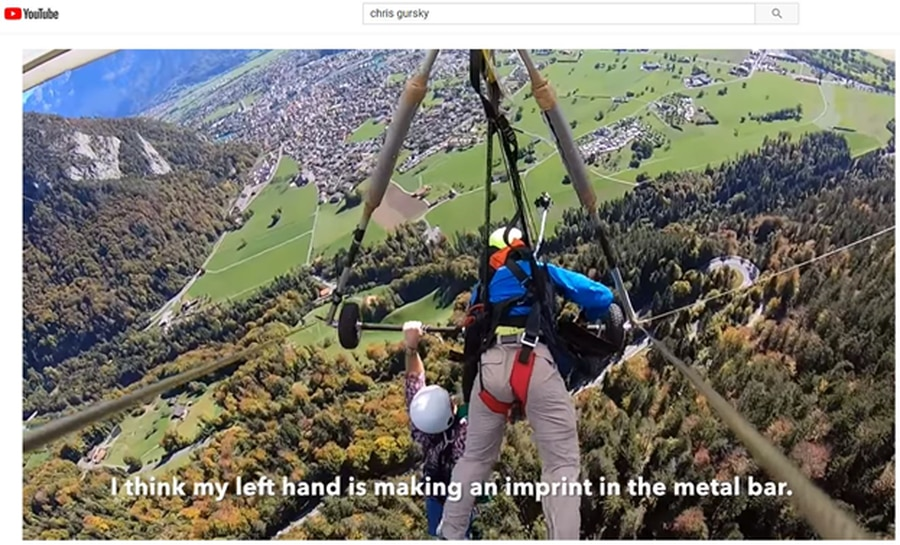 Florida man clings to hang glider 4k feet above Swiss mountains