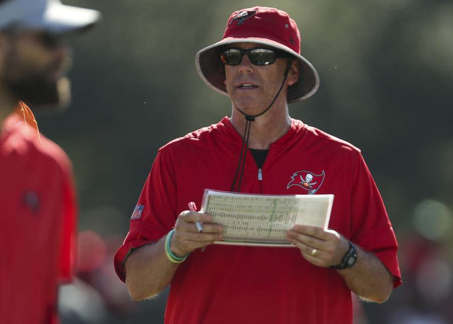Bucs offensive coordinator Todd Monken watches drills during practice in August at One Buc Place. [MONICA HERNDON | Times]