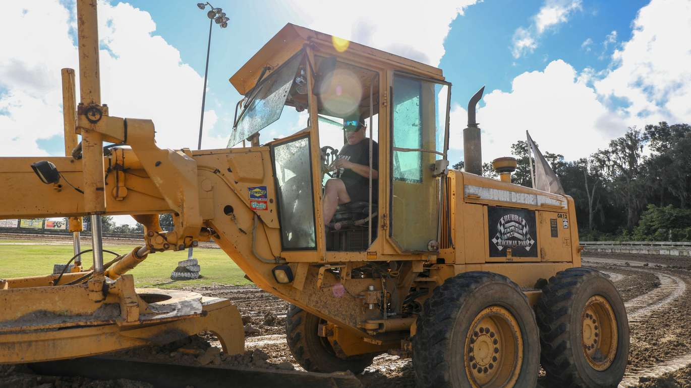 Bubba working the grater at Bubba Raceway Park in Ocala. [CHRIS URSO | Times]