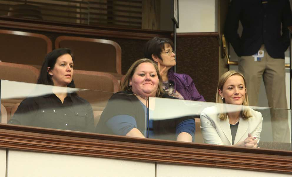 SCOTT KEELER | TimesHuman trafficking survivors Linsey Ruth, 35, Savannah Parvu, 31, and former Seminole County prosecutor Lisa Haba look on as Sen. Lauren Book, D-Plantation, makes a last-ditch effort on the Senate floor to revive her bill, which would allow victims of human trafficking to sue hotels that profit from the illegal trade.
