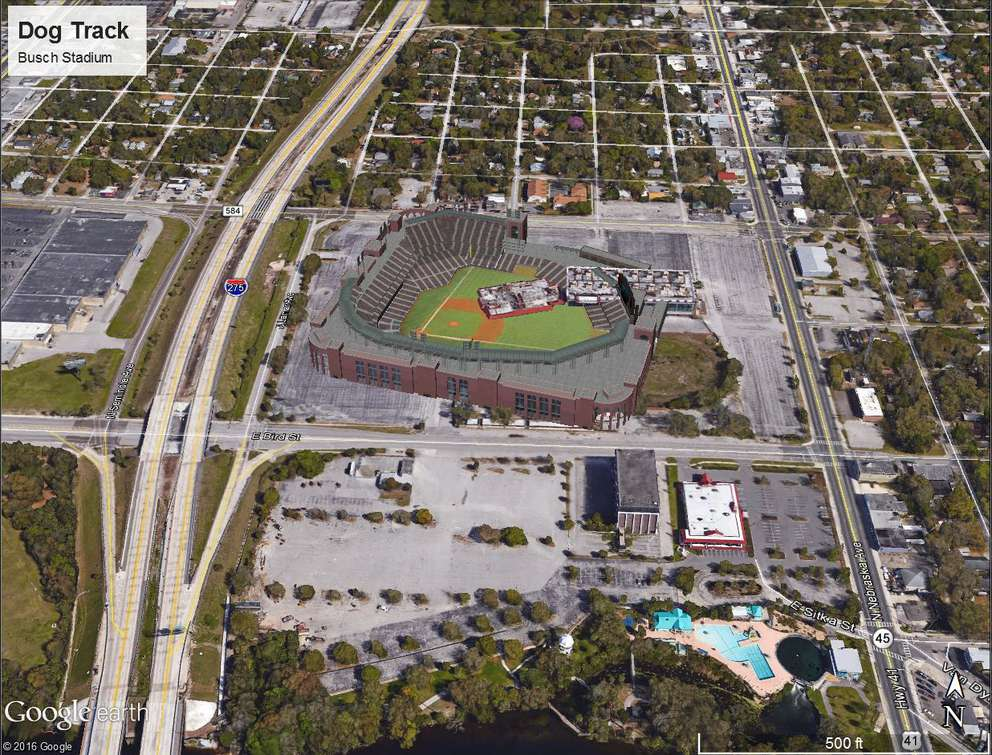An image depicting what Busch Stadium, home of the St. Louis Cardinals, would look like at the Tampa Greyhound Track in the Sulphur Spring neighborhood. It is one of eight mockups of potential Tampa Bay Rays ballpark locations created last year by Hillsborough County. (Courtesy of Hillsborough County)