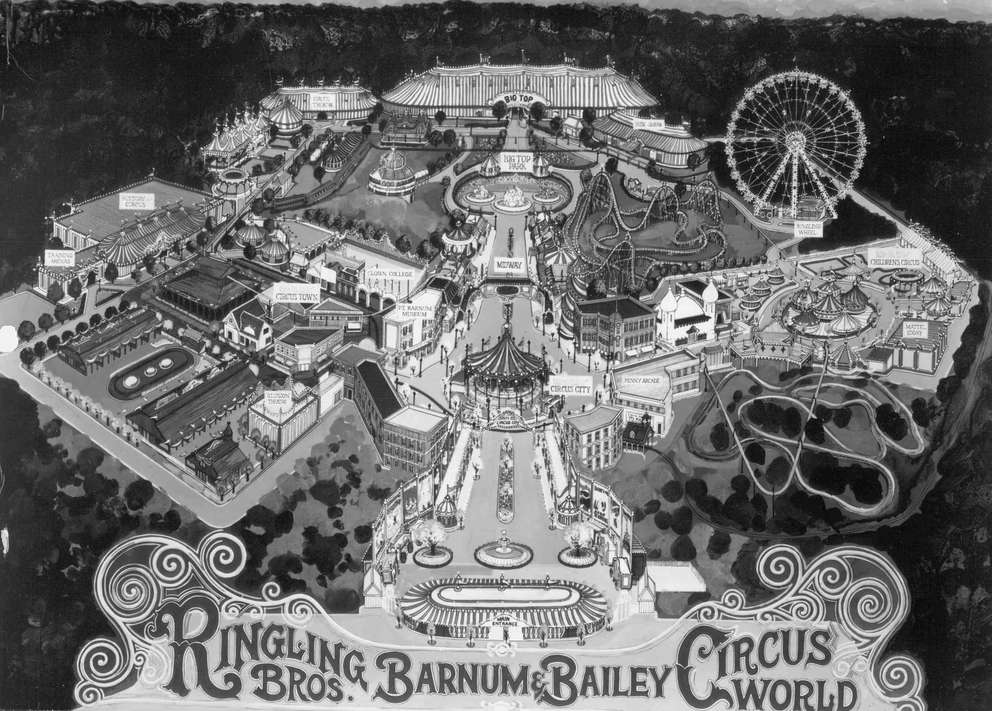 Ringling Bros. and Barnum Bailey Circus World, a 750-acre thriving city of circus in motion, featured amphitheaters, rides, restaurants and shops. [Times file]