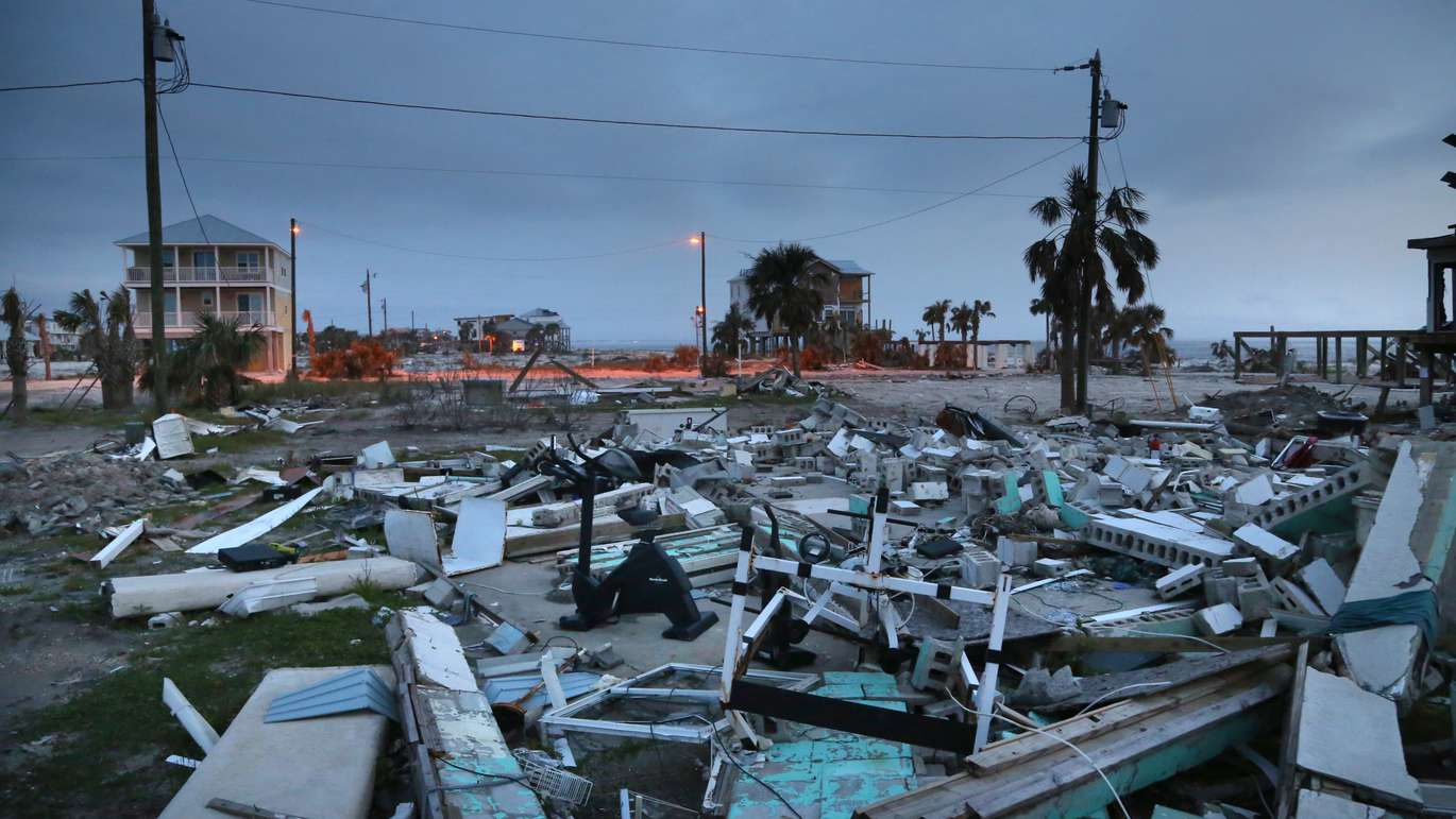 The remains of destroyed structures continue to littler the beach side of U.S. Hwy 98 in Mexico Beach, five months after Hurricane Michael made landfall in the small coastal community. (DOUGLAS R. CLIFFORD | Times)
