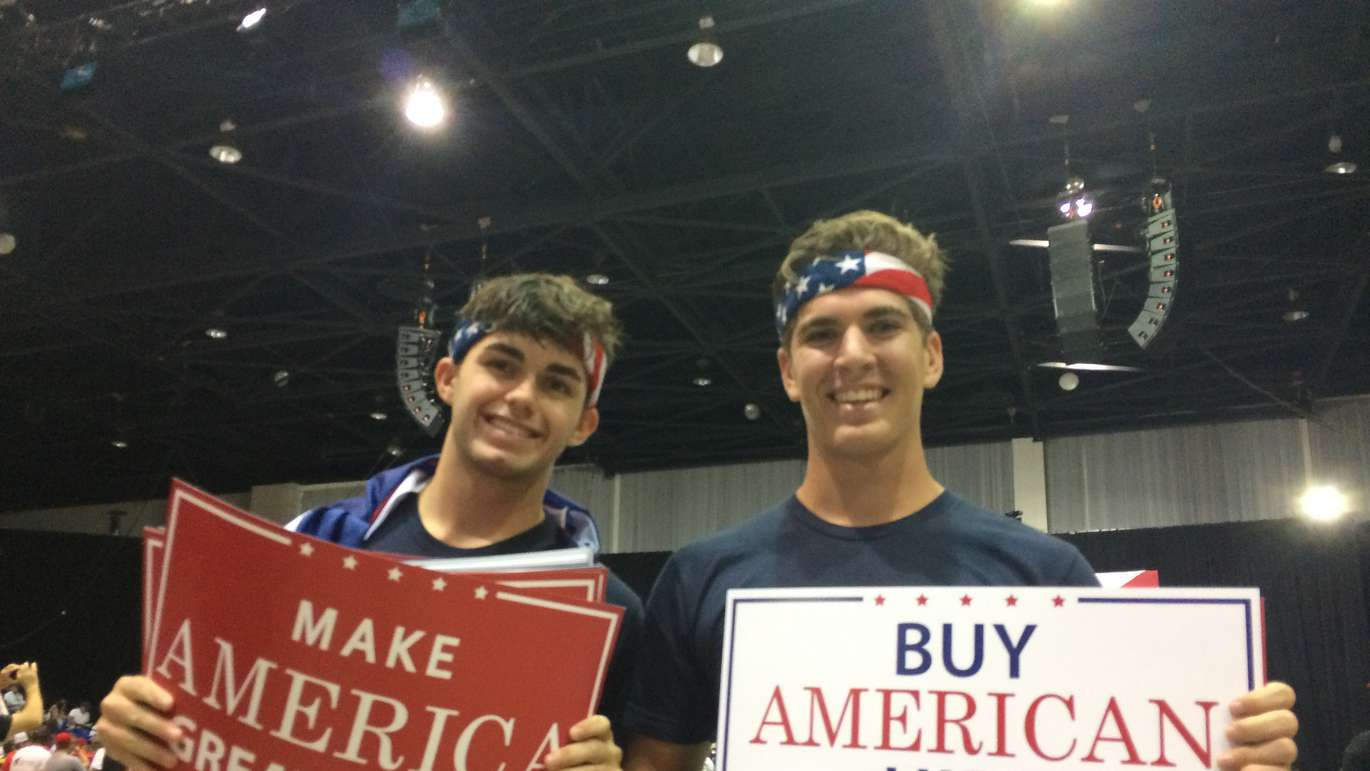 Matthew Nichols, left, and Michael Resina, right, came out to show their support for President Trump. [TIM FANNING | Times]
