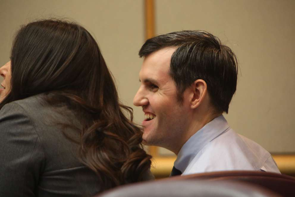 Jonchuck listens to the testimony of Dr. Michael Maher as the psychiatrist explains to the jury Jonchuck's mental state the night he killed Phoebe. He smiled. Lawyers have said spontaneous smiling and laughing can be a sign Jonchuck's mental state is slipping. [SCOTT KEELER | Times]