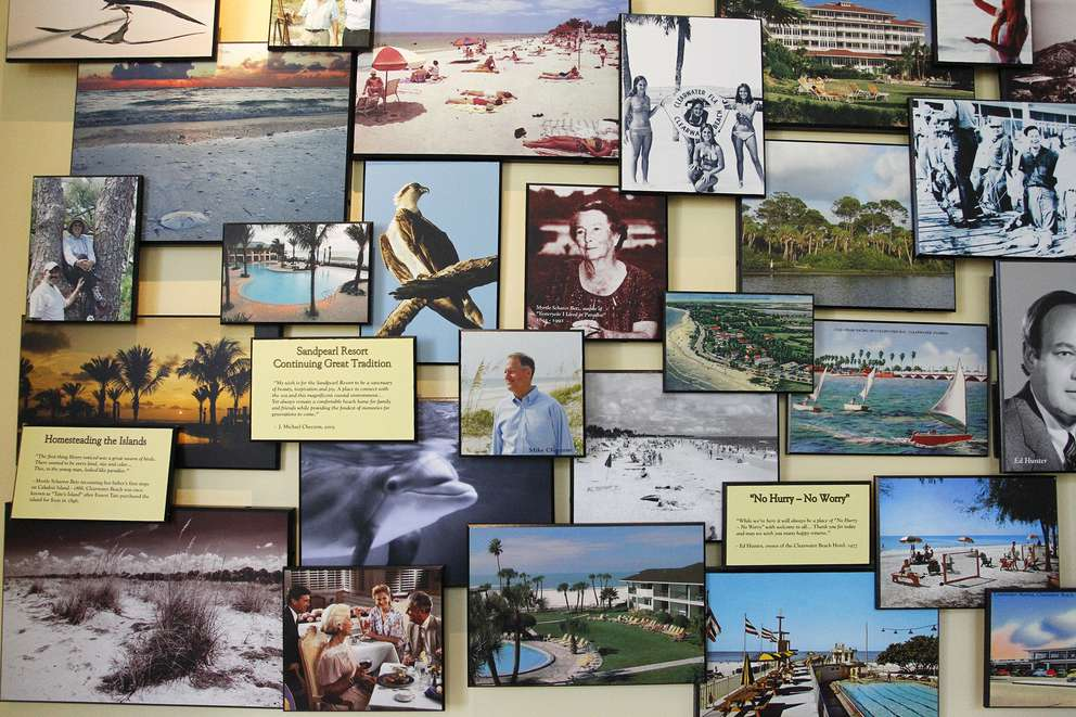 The memory wall at the Sandpearl Resort features new and old photos from the Clearwater Beach Hotel. [JAMES BORCHUCK | Times]