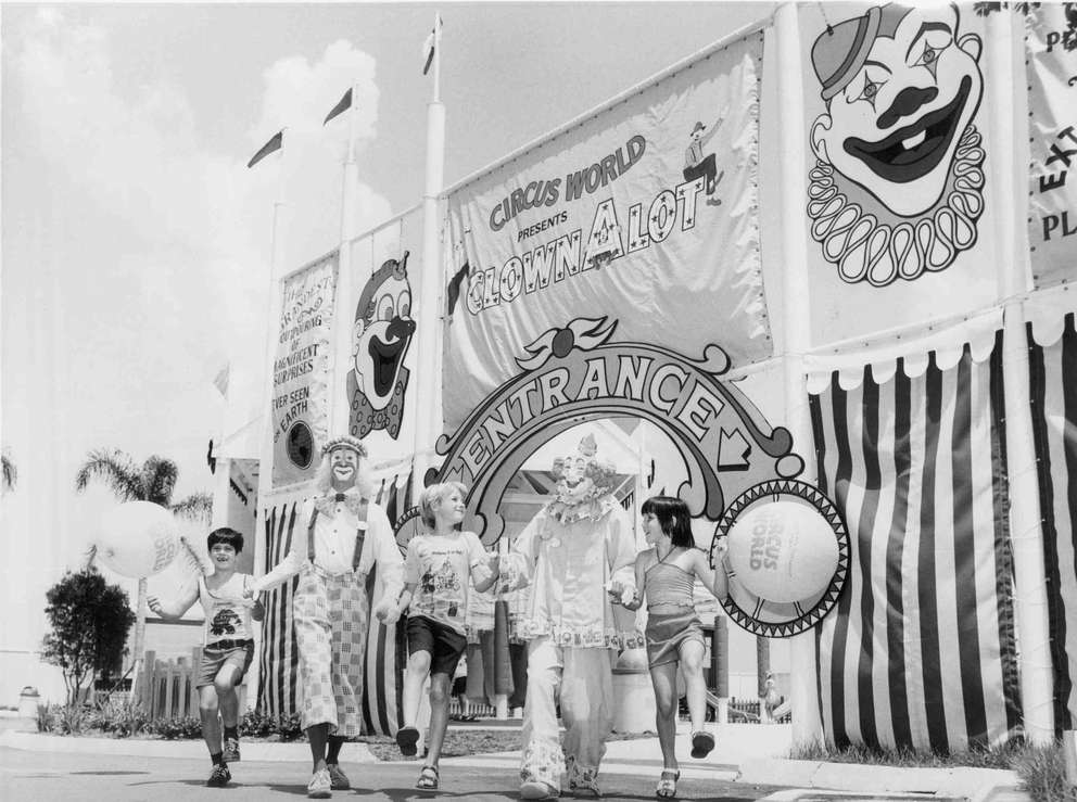 Youngsters visiting Ringling Bros. and Barnum & Bailey Circus World enjoy the children's play area. Times (1979)