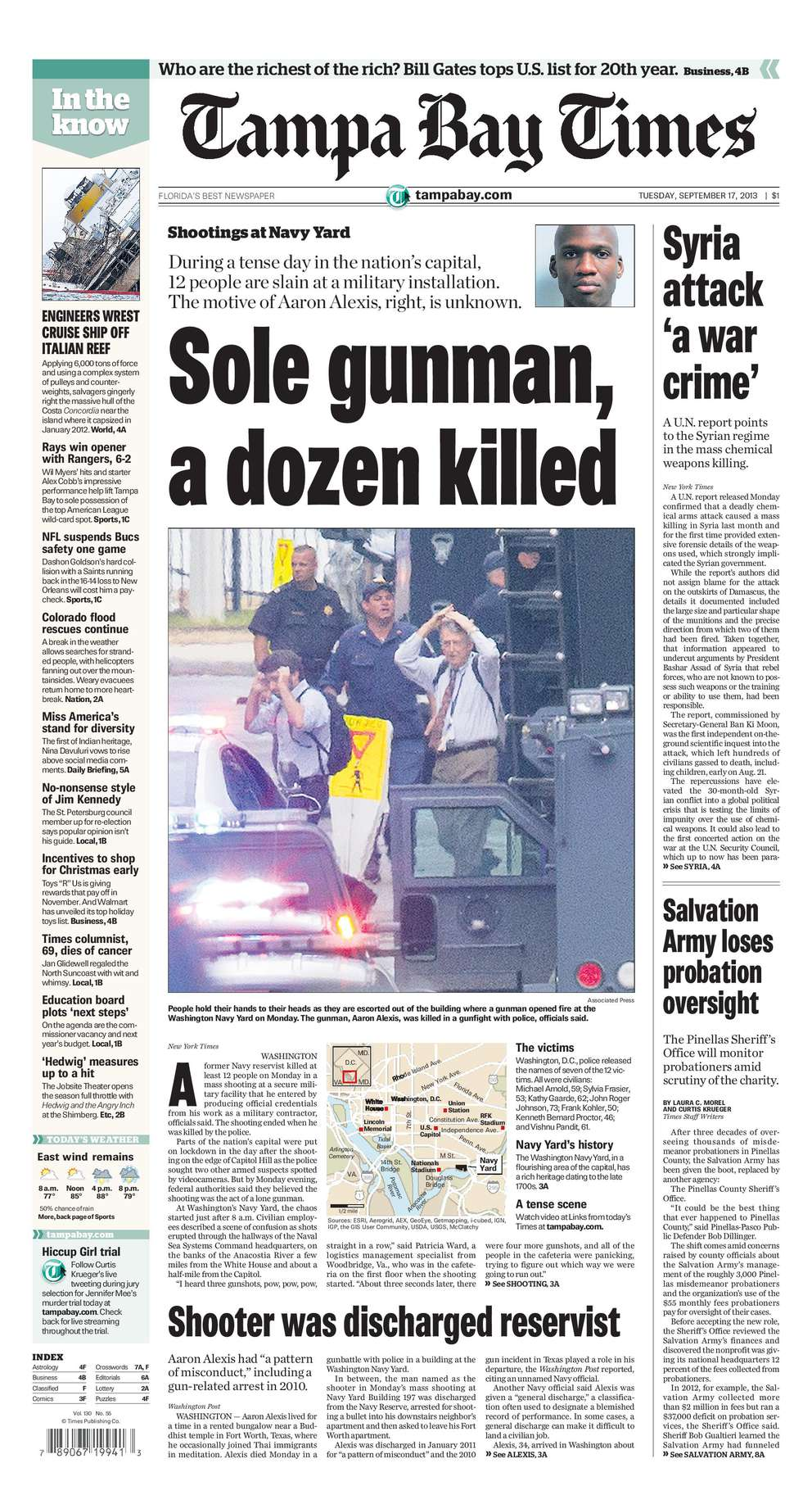 Sept. 16, 2003: 12 killed. A civilian contractor entered the Navy Yard military facility in Washington D.C. and killed 12 people before police killed him.