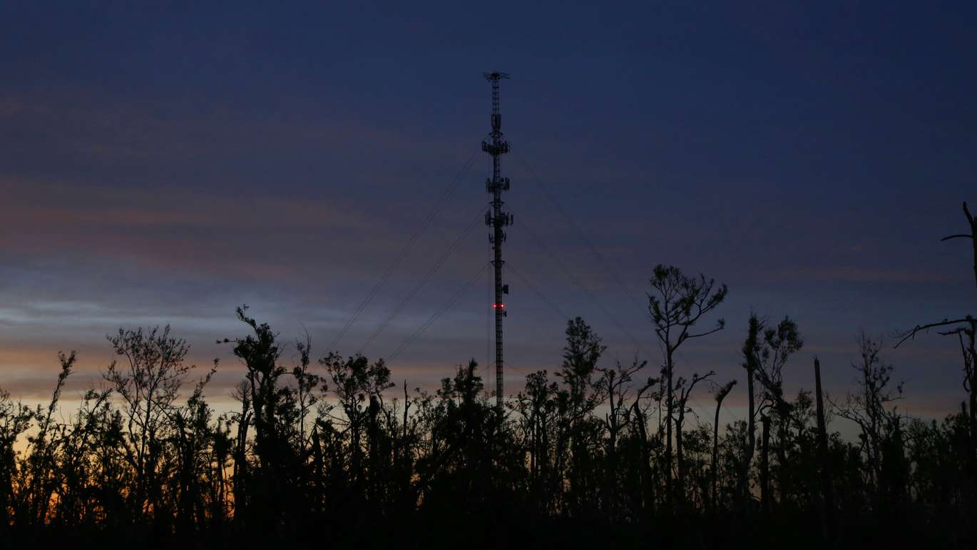 A communication / cellular tower on Mexico Beach, where reconstruction continues in the small coastal city, which had a population of 1200 before Hurricane Michael in October 2018. The city's communications have been highlighted as a huge flaw in the immediate disaster recovery by the FCC. (DOUGLAS R. CLIFFORD   Times)