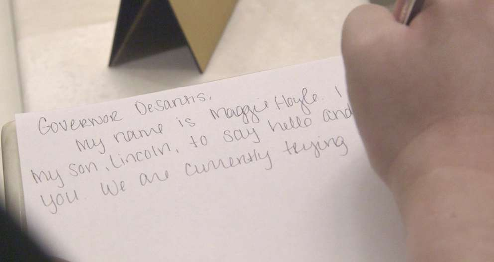 Maggie Hoyle-Germann's note to Florida Gov. Ron DeSantis asked for his support on the bill that would change medical coverage for Lincoln. JOHN PENDYGRAFT   Times