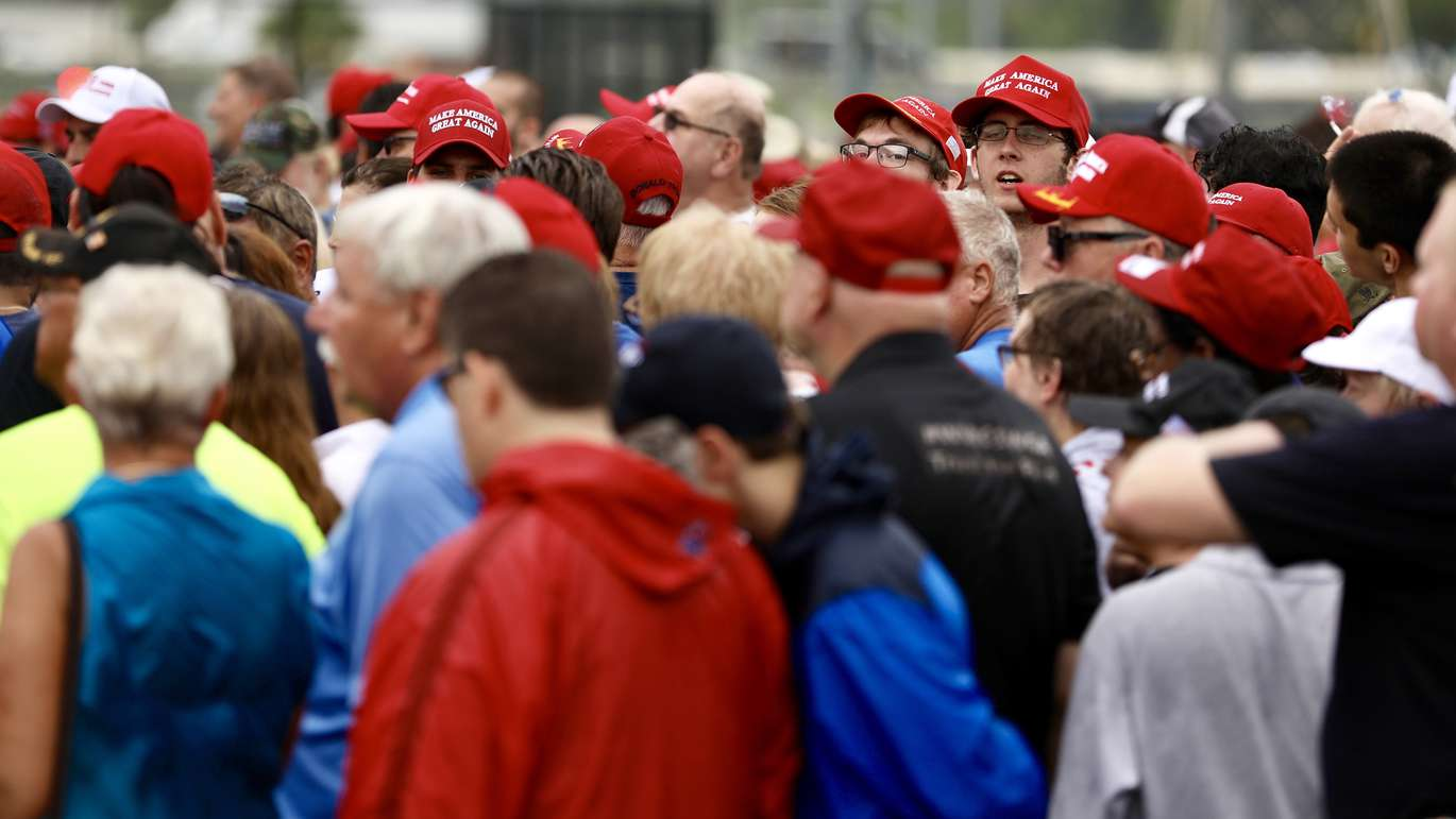 Trump supporters wait in line to enter the State Fairgrounds. [Chris Urso | Times]