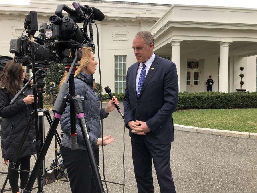 Interior Secretary Ryan Zinke outside the White House on Feb. 26, 2018 (Alex Leary | Times)