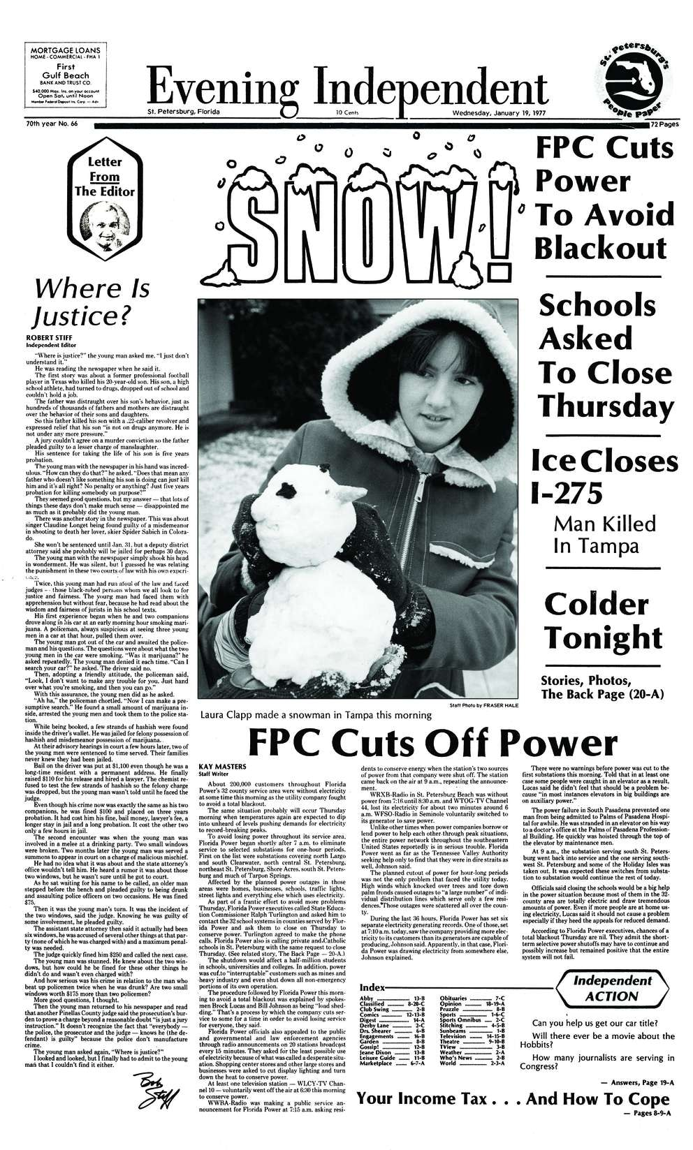 Front page of the January 19, 1977 edition of the Evening Independent, featuring coverage of snow in the Tampa Bay area. [Times archives]
