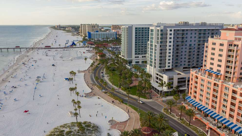 Aerial photo of Pier 60 at Clearwater Beach on Wednesday, May 1, 2019. [LUIS SANTANA   Times]