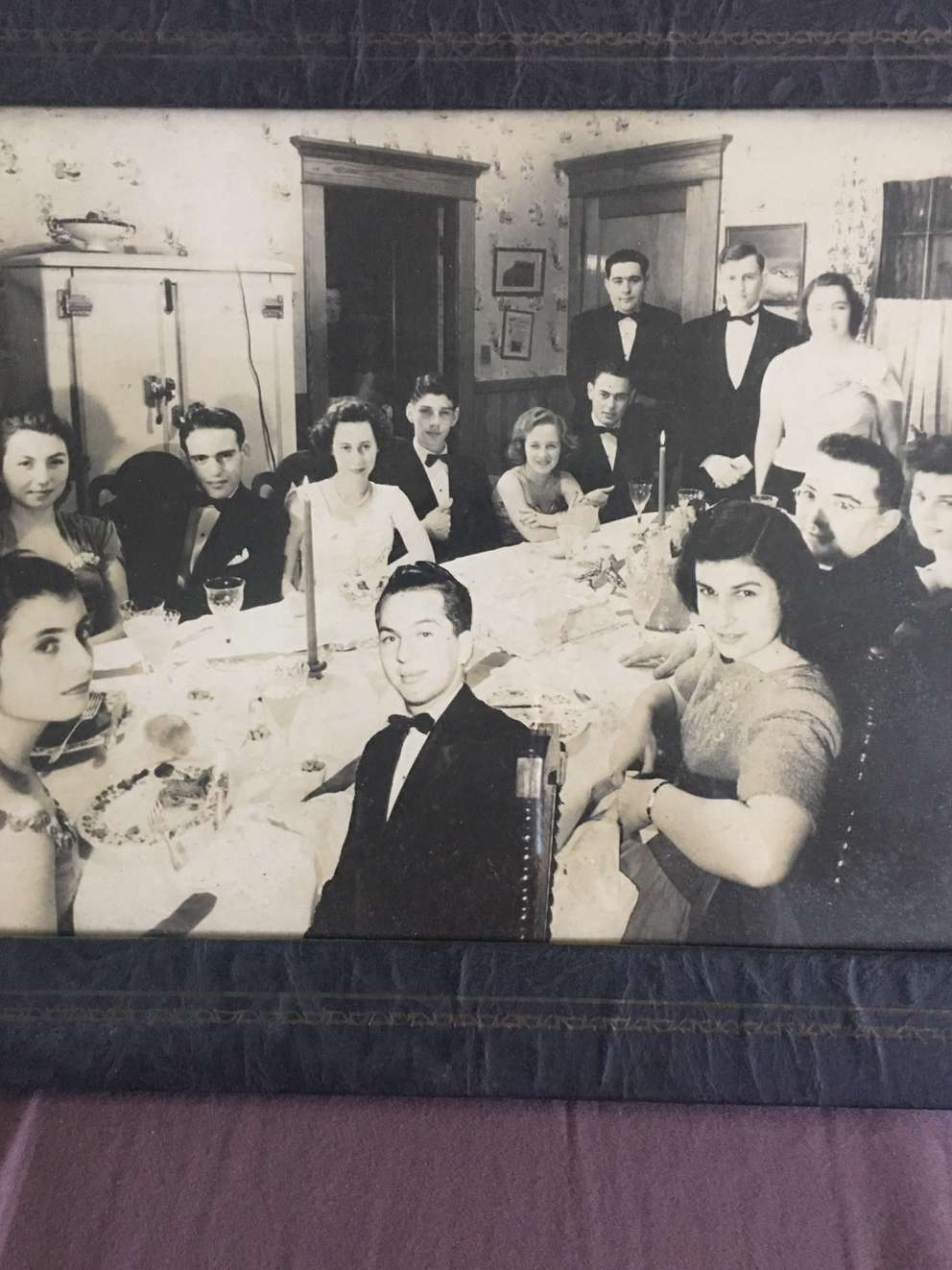 Bernie Herman, front and center, was left out of the photo of his 16th birthday party, so the photographer awkwardly cropped him in. (Photo courtesy Beth Herman)