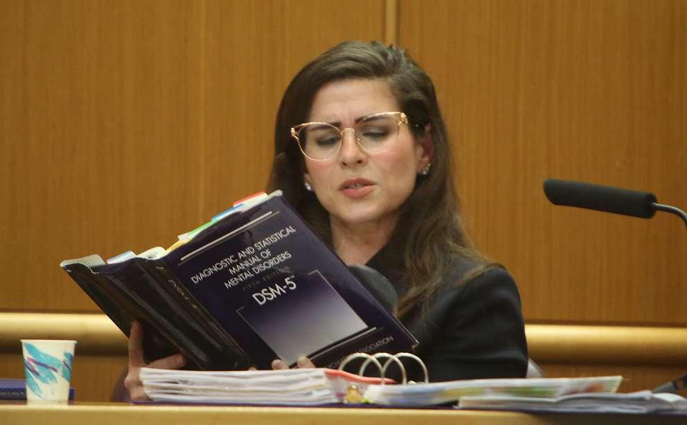Psychiatrist Emily Lazarou references the DSM-5 in court Wednesday. SCOTT KEELER | Times