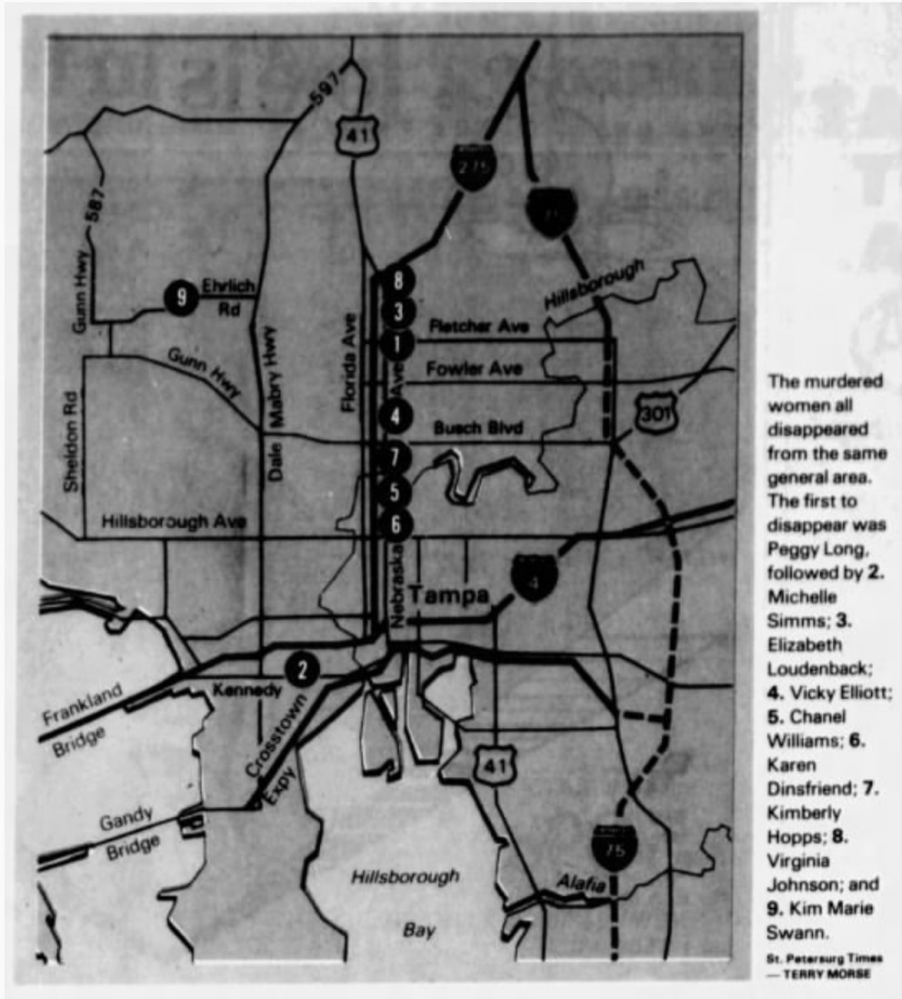 This map of where the victims were found ran in the November 1984 issue of the St. Petersburg Times.