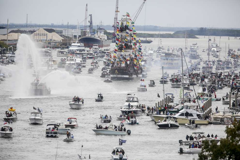 The Jose Gasparilla moves north into the Seddon Channel during the annual Gasparilla Pirate Invasion. [BRONTE WITTPENN | Times]