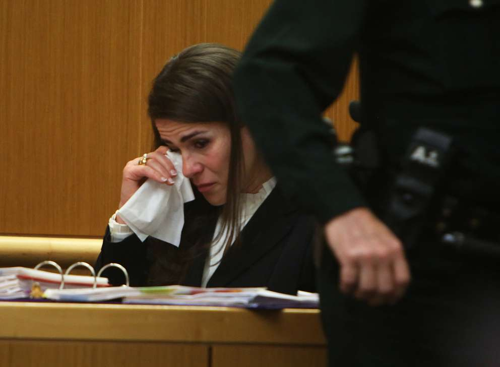 Psychiatrist Emily Lazarou cries while giving testimony Thursday in the murder trial of John Jonchuck. SCOTT KEELER | Times