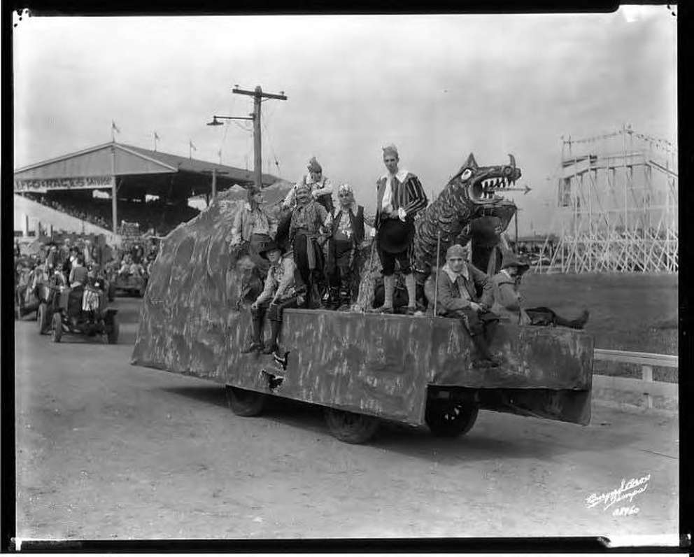 Pirates on a dragon Gasparilla float in 1936. [Burgert Brothers | Courtesy, Tampa-Hillsborough County Public Library System]
