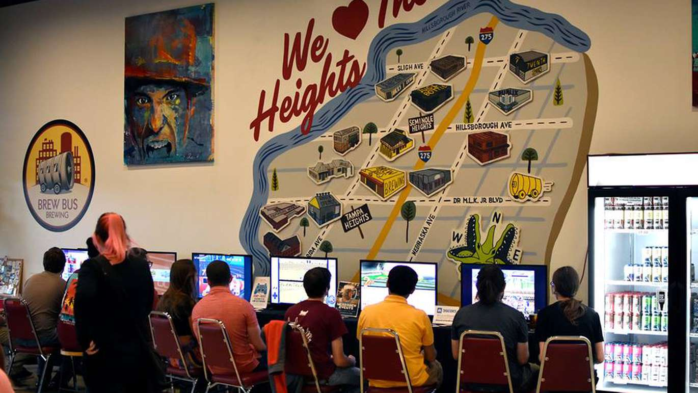 Pints & Pixels gaming night takes place at Brew Bus Brewing in Tampa. Event organizer NerdBrew brings out classic console games that are free to play. [Courtesy of NerdBrew]