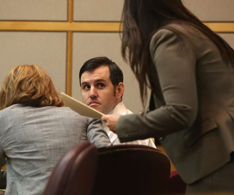 569c738d48 Defendant John Jonchuck looks at one of his public defenders, Jessica  Manuele, in the courtroom Wednesday. SCOTT KEELER | Times