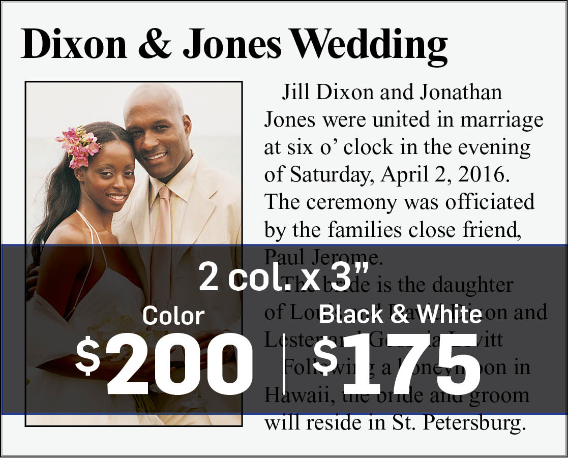 Wedding announcement example two column by 3 inches.
